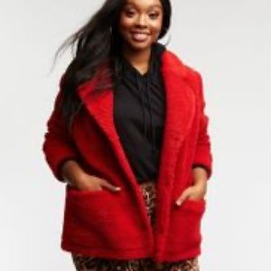 Charlotte Russe plus size red Sherpa teddy coat 2x